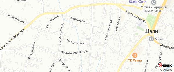 Переулок 1-й А.Кадырова на карте Шали с номерами домов