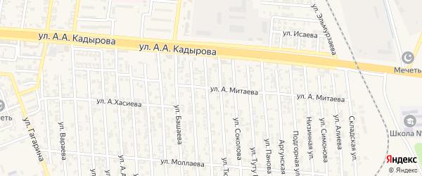 Абонентский ящик Хусайна Митаева на карте Аргуна с номерами домов