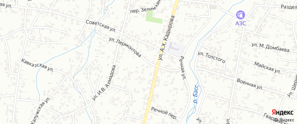 Улица Лермонтова на карте Шали с номерами домов