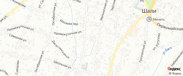 Бригадная улица на карте Шали с номерами домов