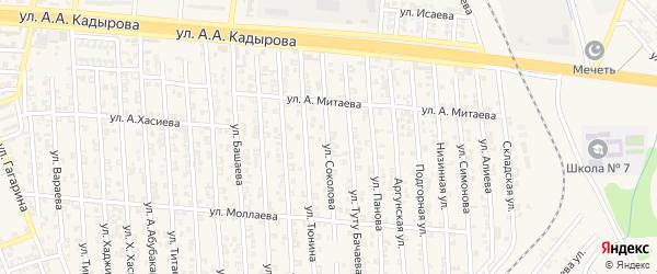 Улица Н.Соколова на карте Аргуна с номерами домов