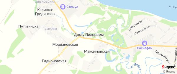 Карта хутора Дом у пилорамы в Архангельской области с улицами и номерами домов