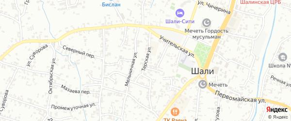 Терская улица на карте Шали с номерами домов
