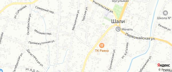 Коммунальная улица на карте Шали с номерами домов