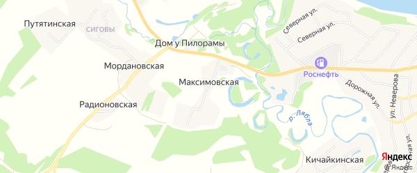 Карта Максимовская 1-я деревни в Архангельской области с улицами и номерами домов