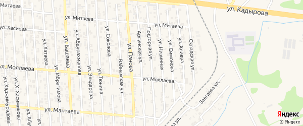 Подгорная улица на карте Аргуна с номерами домов
