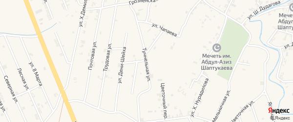 Рабочая улица на карте села Мескер-Юрт с номерами домов