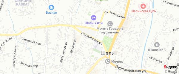 Учительская улица на карте Шали с номерами домов