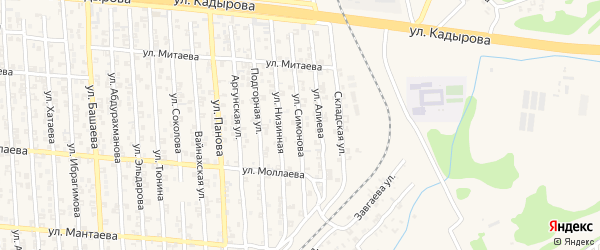 Улица С.Симонова на карте Аргуна с номерами домов