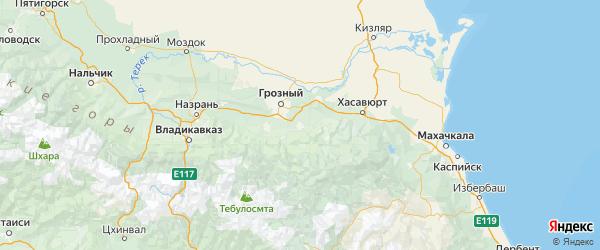 Карта Шалинского района республики Чечня с городами и населенными пунктами