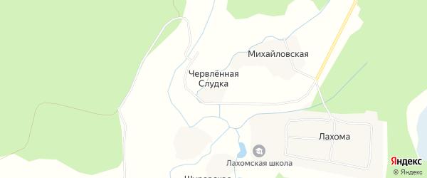 Карта деревни Червленной Слудки в Архангельской области с улицами и номерами домов