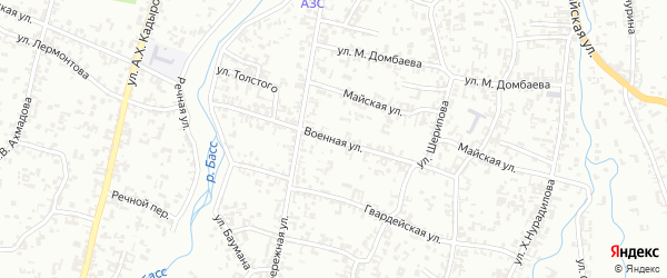 Военная улица на карте Шали с номерами домов