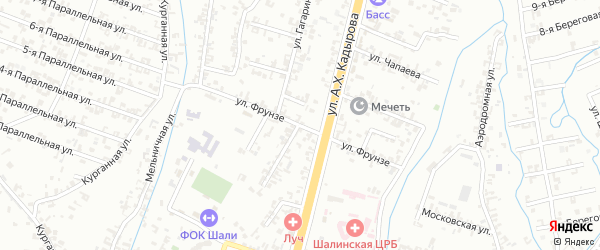 Улица Фрунзе на карте Шали с номерами домов