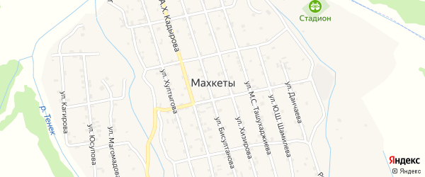 Улица Д.Данчаева на карте села Махкеты с номерами домов