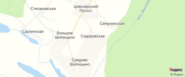 Карта Семунинской деревни в Архангельской области с улицами и номерами домов