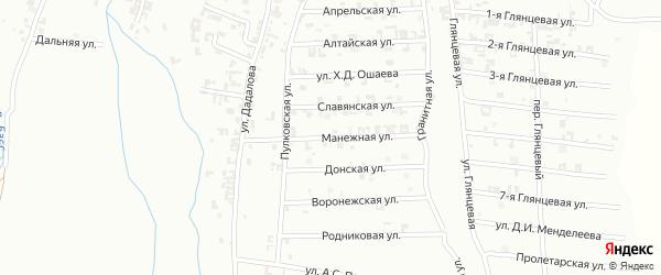 Манежная улица на карте Шали с номерами домов
