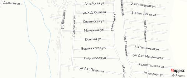 Донская улица на карте Шали с номерами домов