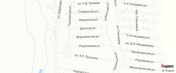 Воронежская улица на карте Шали с номерами домов