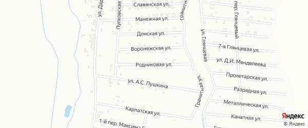 Улица Родникова на карте Шали с номерами домов