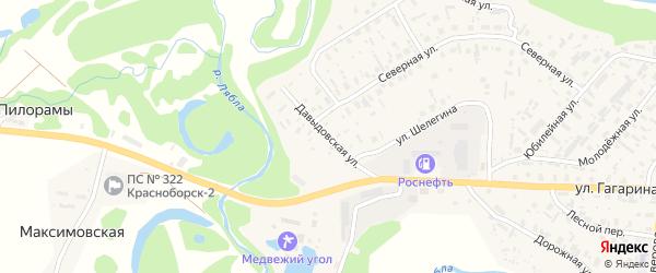 Давыдовская улица на карте села Красноборска с номерами домов