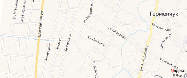 Улица Пушкина на карте села Герменчук с номерами домов