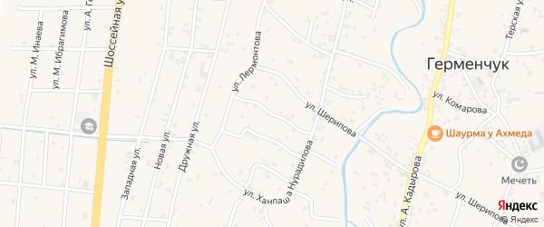Переулок Лермонтова на карте села Герменчук с номерами домов