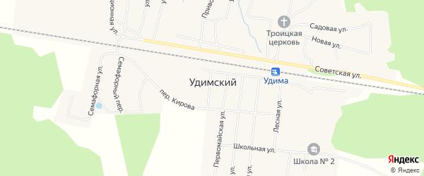 Карта Удимского поселка в Архангельской области с улицами и номерами домов