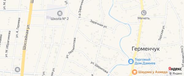 Переулок 1-й Сайханова на карте села Герменчук с номерами домов