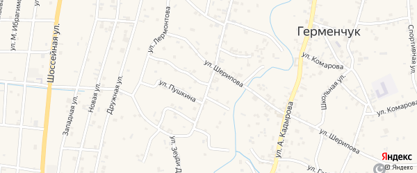 Улица Ханпаша Нурадилова на карте села Герменчук с номерами домов