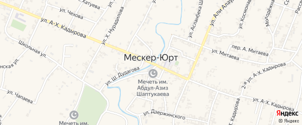 Улица Заря-Кавказа на карте села Мескер-Юрт с номерами домов