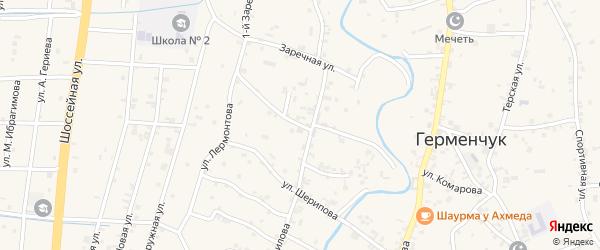 Улица Сайханова на карте села Герменчук с номерами домов