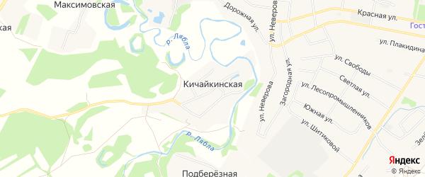 Карта Кичайкинской деревни в Архангельской области с улицами и номерами домов