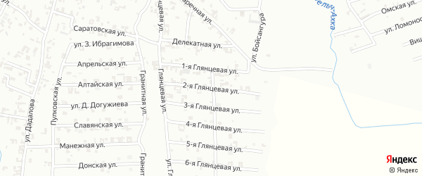 2-я Глянцевая улица на карте Шали с номерами домов