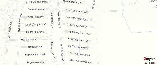 4-я Глянцевая улица на карте Шали с номерами домов