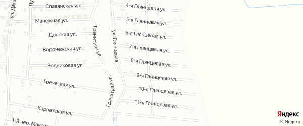 8-я Глянцевая улица на карте Шали с номерами домов
