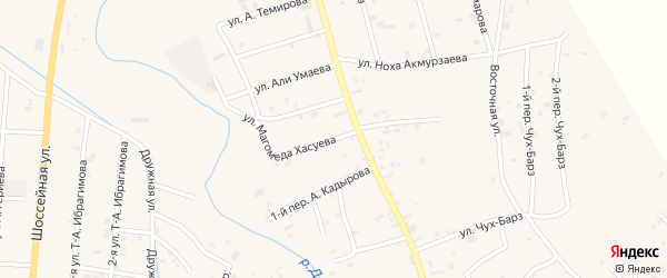 Улица Магомеда Хасуева на карте села Герменчук с номерами домов