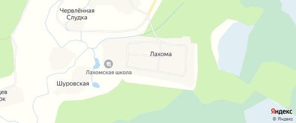 Карта поселка Лахомы в Архангельской области с улицами и номерами домов