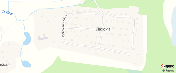 Центральная улица на карте поселка Лахомы с номерами домов