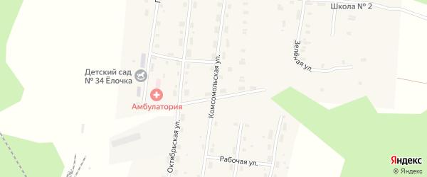 Комсомольская улица на карте Удимского поселка с номерами домов
