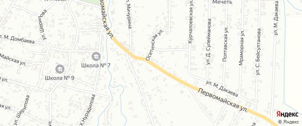 Первомайская улица на карте Шали с номерами домов