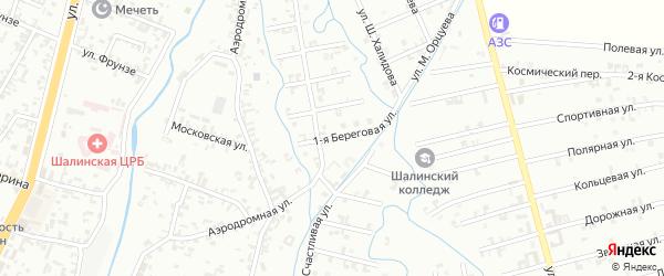 1-я Береговая улица на карте Шали с номерами домов
