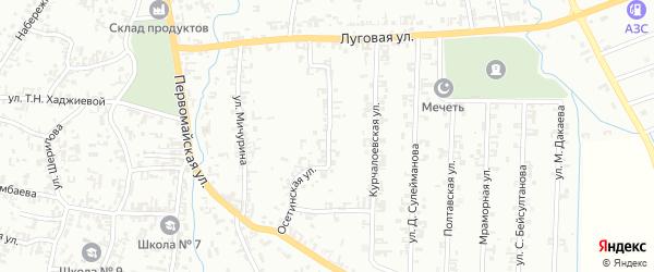 Осетинская улица на карте Шали с номерами домов