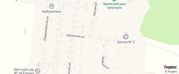 Школьный переулок на карте Удимского поселка с номерами домов