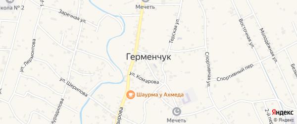 1-й Спортивный переулок на карте села Герменчук с номерами домов
