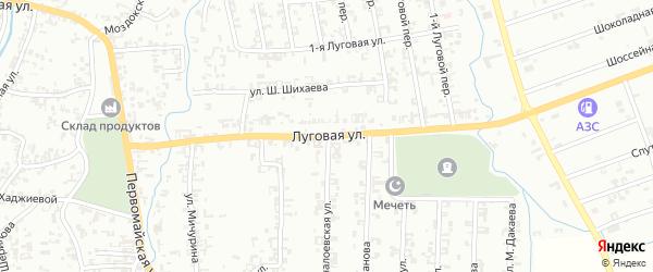 Луговая улица на карте Шали с номерами домов