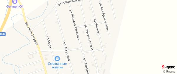 Улица Механизаторов на карте села Герменчук с номерами домов