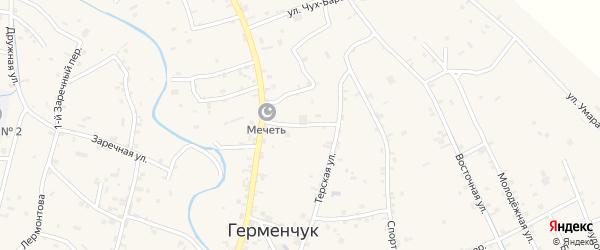 Восточный переулок на карте села Герменчук с номерами домов