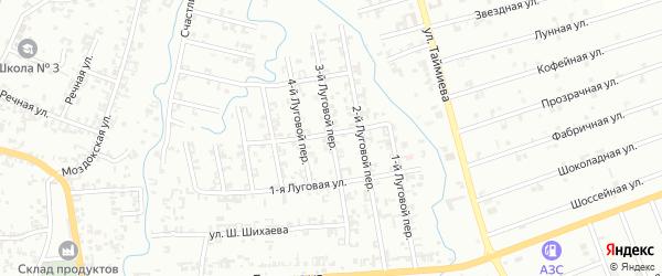Луговой 3-й переулок на карте Шали с номерами домов