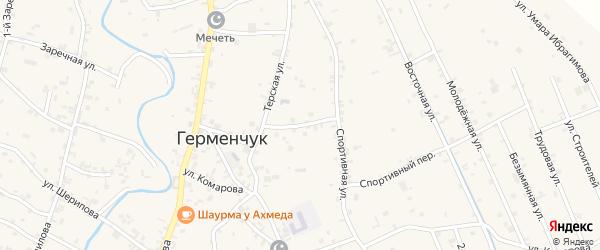 2-й Спортивный переулок на карте села Герменчук с номерами домов
