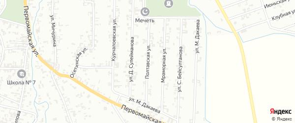 Полтавская улица на карте Шали с номерами домов